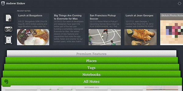 The redesigned Evernote 5 home screen on the iPad.