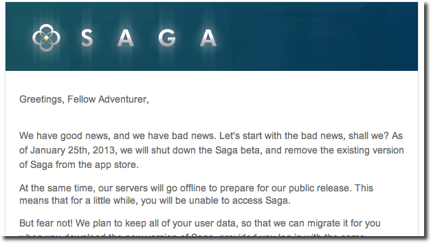 Saga announces end of beta