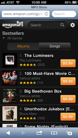 Amazon Launches A Web-Based Music Store For iPhone Owners