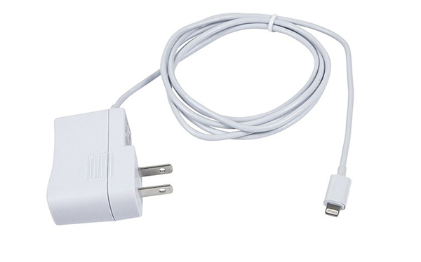 The wall charger features a 5-foot long cord.