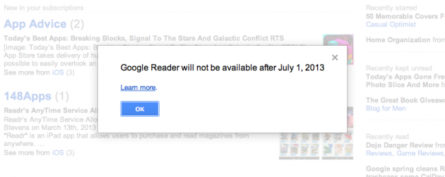 Google To Shut Down Google Reader Along With Other Services -- AppAdvice