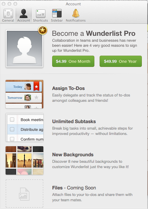 Wunderlist Pro on Mac