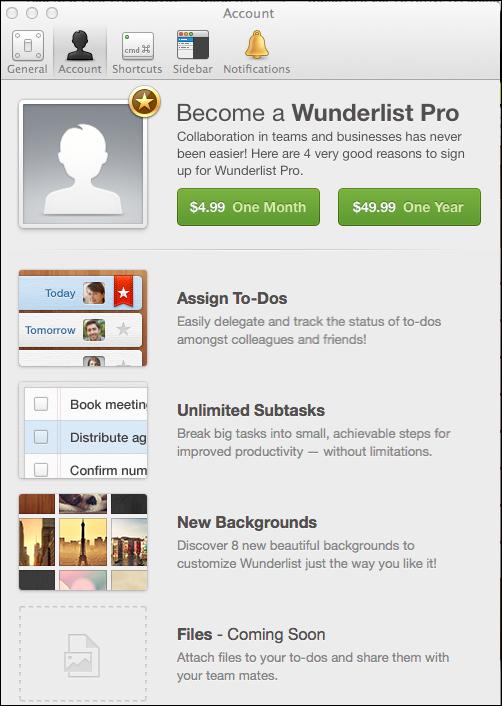 Wunderlist Pro on Mac