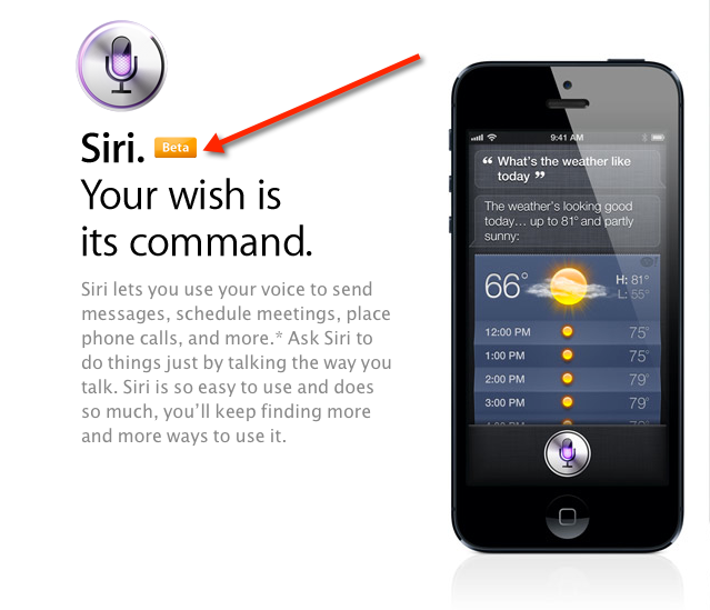 Siri remains in beta, folks