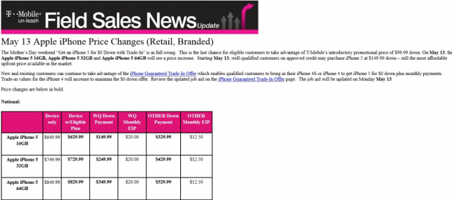 New prices for T-Mobile iPhone