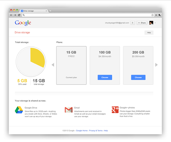 Google Drive's updated Web page.