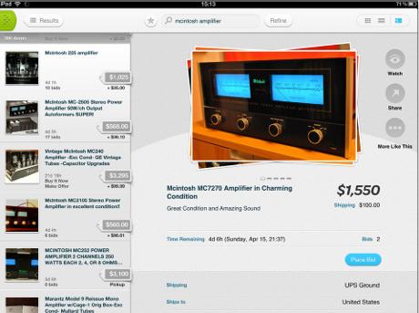 The new eBay for iPad app.