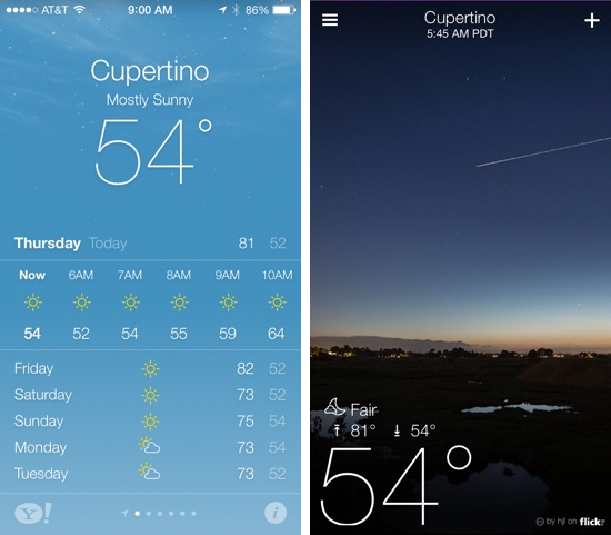 Weather app (iOS 7) vs. Yahoo Weather (iOS 6)