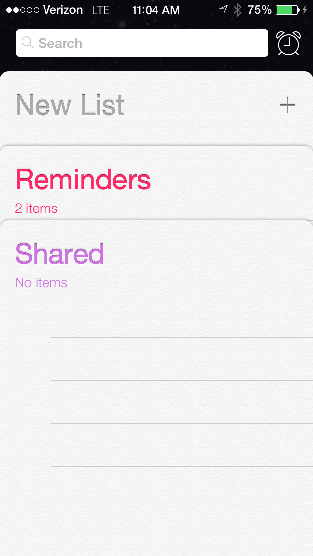 New Reminders app, iOS 7 Beta 2
