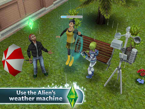 Use The Alien's New Machine To Play Around With The Weather In The Sims FreePlay