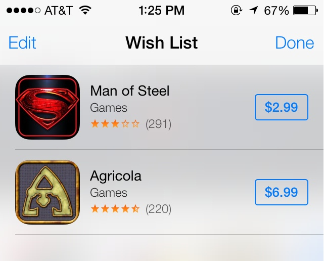 App Store Wish List