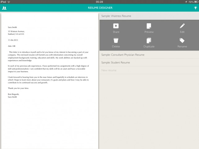 resume designer now lets you create edit and share resumes on an ipad