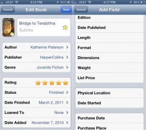 BookBuddy version 5.0 (iPhone 5) - Edit Book