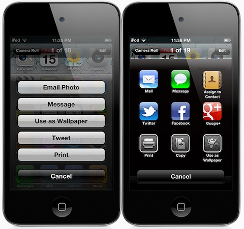 Sharing: iOS 5 versus iOS 6