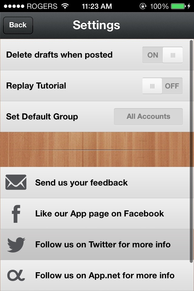 quickly post to facebook twitter and app   using