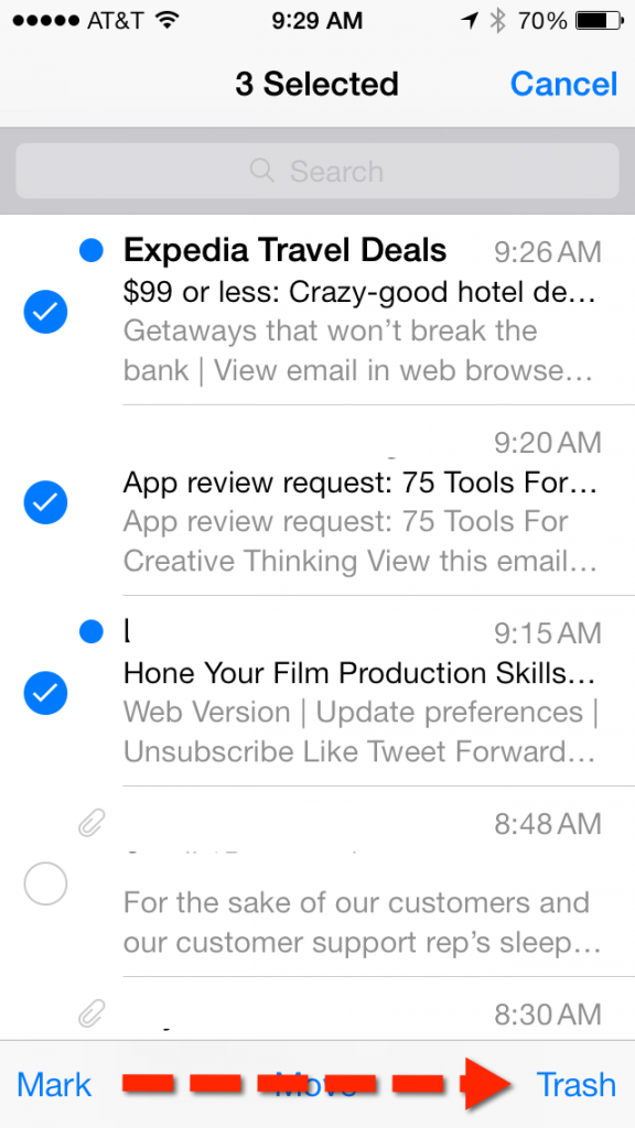 Mail app in iOS 7 beta 5