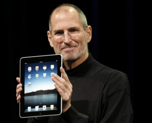 Steve Jobs with the first iPad