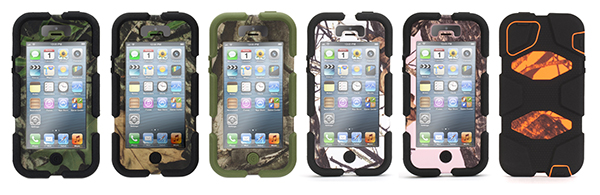 Buyers can choose from six different camo styles for the iPhone 5 and 4S.