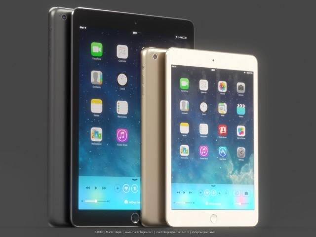 Maketa iPadu 5 a zlatého iPadu mini se senzorem otisků prstů Touch ID