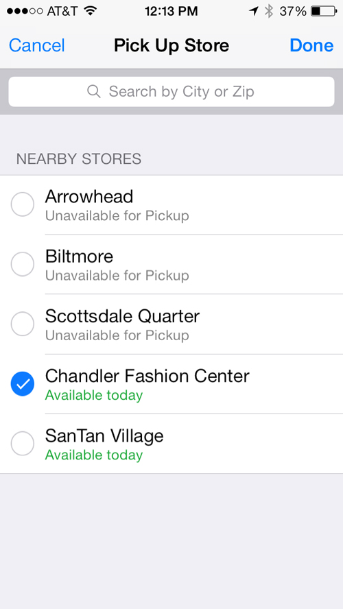 The app shows iPhone availability at local and favorite Apple Stores.