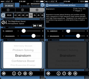 Brain Waves version 6.1 (iPhone 5) - Main and Program Information