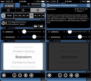 Brain Waves version 6.1 (iPhone 5) - Main and Program Information