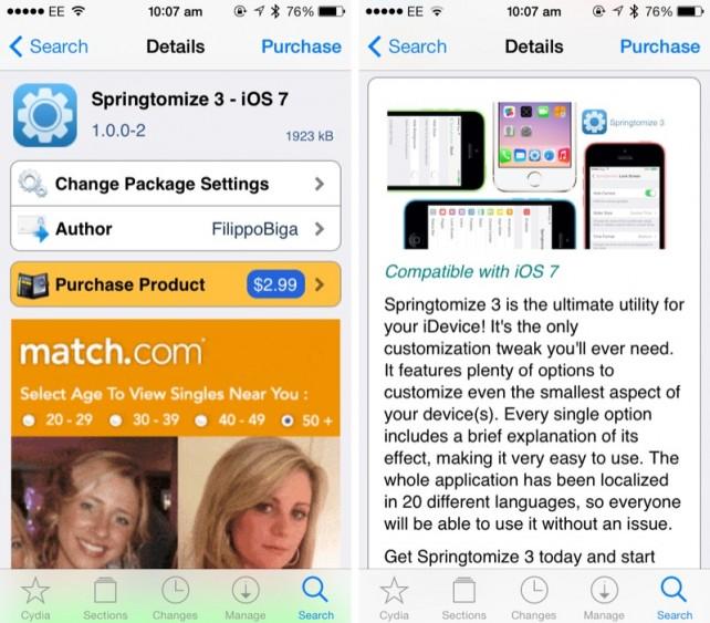 Springtomize 3 - Přizpůsobte si vzhled iOS 7 (Jailbreak, Tweak)