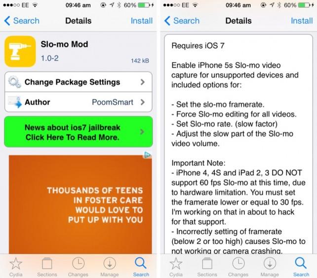 Slo-mo Mod - Zpomalená videa i pro starší iOS 7 zařízení (Jailbreak, Tweak)