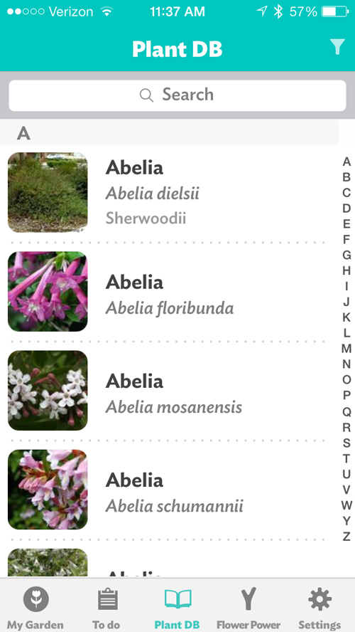 The database is comprehensive, covering everything from abelia to zucchini.