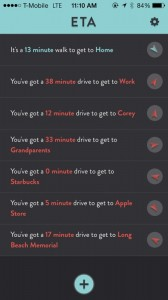 ETA - view driving times in current traffic to your favourite locations by Eastwood screenshot