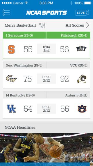 Official NCAA Sports App Goes 2.0 With New iOS 7 Design And New Features
