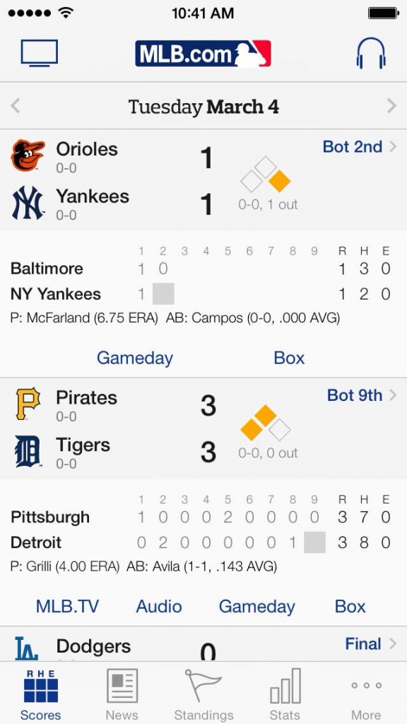 MLB.com At Bat Updated To Version 7.0 With Complete Redesign For iOS 7