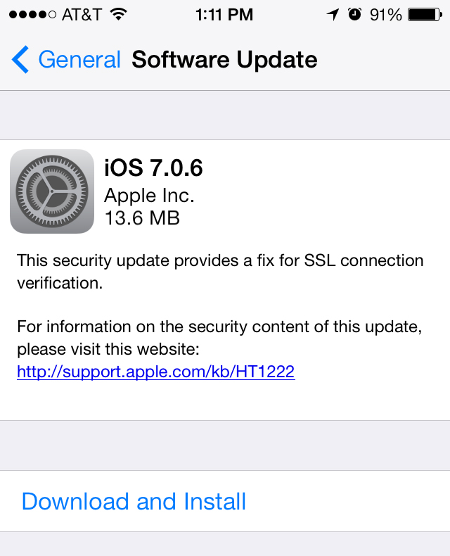 Apple Releases iOS 7.0.6 To The Public