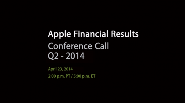 Apple's Q2 2014 Financial Results To Be Announced On April 23