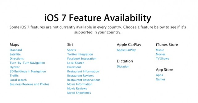 Check Which iOS 7.1 Features Are Available In Your Local Region Using This Chart