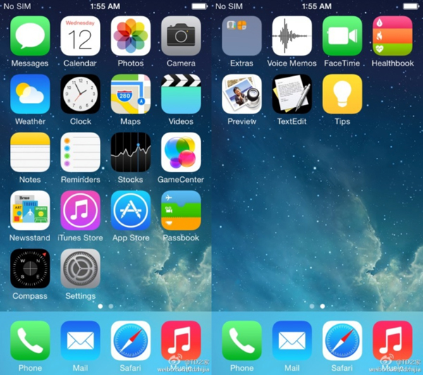 The iOS 8 homescreen.