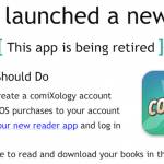 ComiXology's message to users.