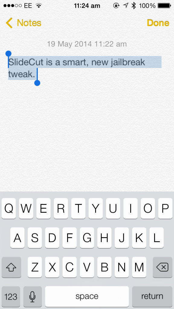 Slidecut - Tweak pro klávesové zkratky na iOS (Tweak, Jailbreak)