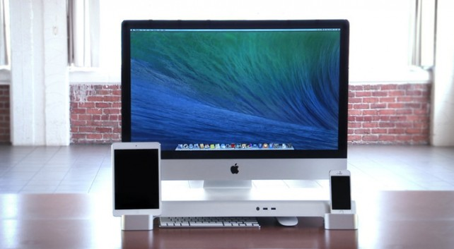 Streamline your entire workspace with the UNITI Stand for iMac, iPhone and iPad