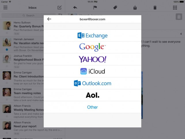 Boxer email app updated with HTML signatures, Outlook push notifications and more
