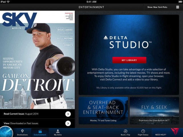 Delta Air Lines' free in-flight entertainment system for iOS devices takes off