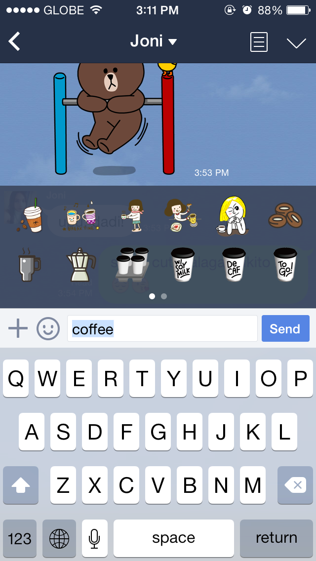 Line messaging app now suggests emoji and stickers as you type