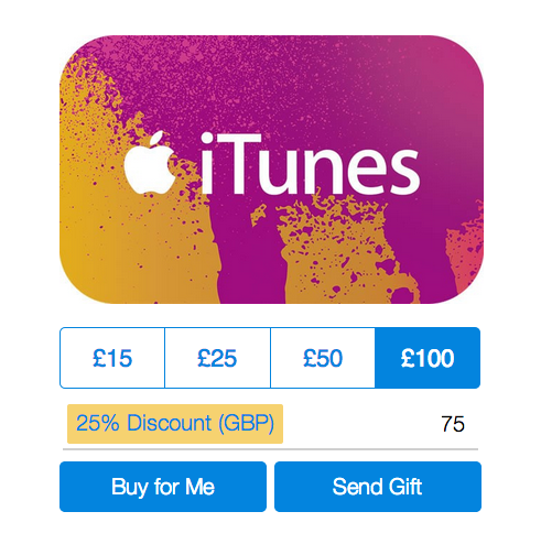 paypal offering itunes gift cards at 25 percent off in the uk. Black Bedroom Furniture Sets. Home Design Ideas