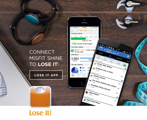 The Misifit Shine fitness tracker can now be integrated with weight loss app Lose It!