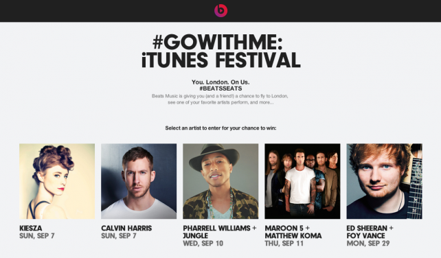 Beats Music's #GoWithMe competition is open now.