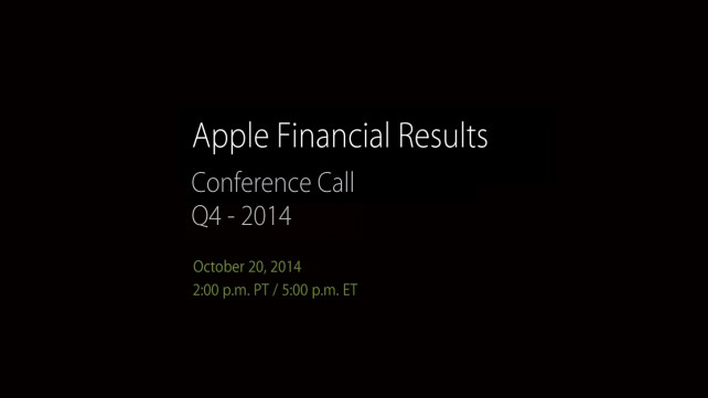 Apple to announce Q4 2014 financial results on Oct. 20