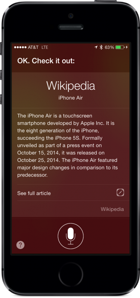 Ask Siri about the new iPhone Air and you'll see its Wikipedia page