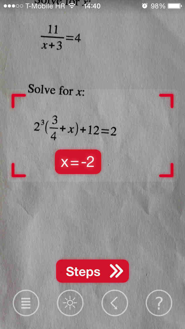 PhotoMath lets you solve math problems using your iOS device\'s camera
