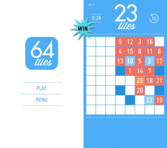 Win 64 tiles and find out how much of the board you can fill up