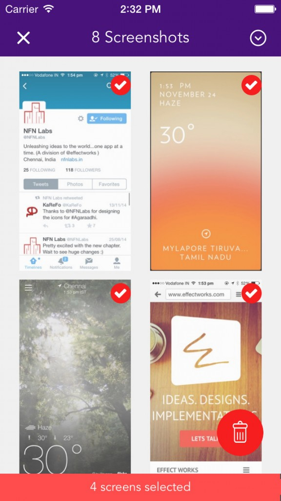Quickly and easily delete your old and unwanted screenshots with Screeny for iOS